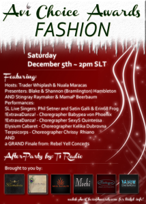 The 2015 Fashion Awards will land in SL on Dec. 5th at 2pm!